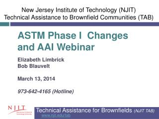 Technical Assistance for Brownfields  ( NJIT  TAB) njit/tab
