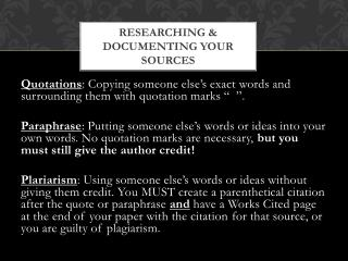 Researching  &  documenting your sources