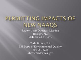 permitting impacts of new  naaqs