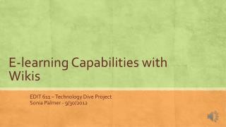 E-learning Capabilities with Wikis