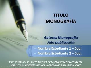 TITULO MONOGRAF�A