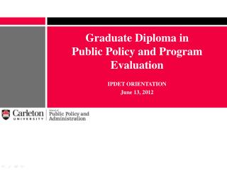 Graduate Diploma in  Public Policy and Program Evaluation