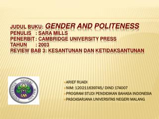 ARIEF RIJADI NIM: 120211639745/ DIND 174007 PROGRAM STUDI PENDIDIKAN BAHASA INDONESIA