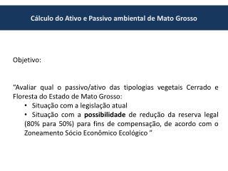 C�lculo do Ativo e Passivo ambiental de Mato Grosso