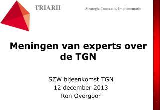 Meningen van experts over de TGN