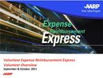 Volunteer Expense Reimbursement Express Volunteer Overview September  October, 2011