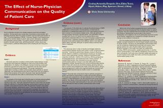 The E ffect  of Nurse-Physician Communication on the Quality of Patient Care
