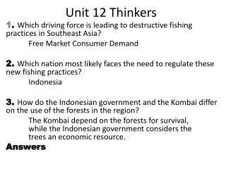 Unit 12 Thinkers