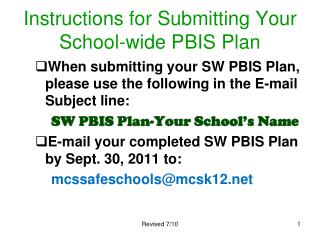 Instructions for Submitting Your School-wide PBIS Plan