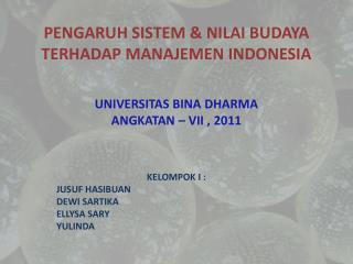 PENGARUH SISTEM & NILAI BUDAYA TERHADAP MANAJEMEN INDONESIA