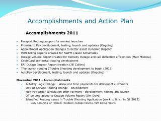 Accomplishments and Action Plan