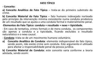 FATO  TÍPICO - Conceito :