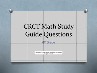 CRCT Math Study Guide Questions