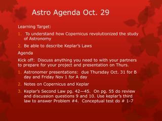 Astro  Agenda Oct.  29