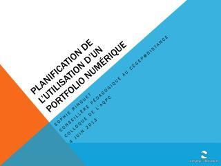 planification de l'utilisation d'un portfolio numérique