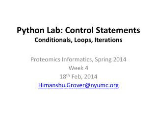 Python Lab: Control Statements Conditionals, Loops, Iterations