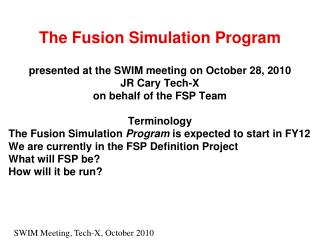 The Fusion Simulation Program