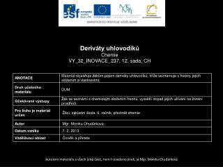 Deriváty uhlovodíků Chemie VY_32_INOVACE_237, 12.  sada,  CH
