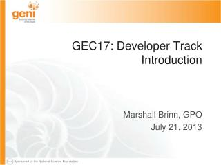 GEC17: Developer Track Introduction