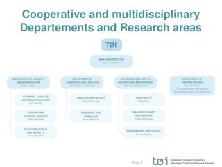 Cooperative  and multidisciplinary  Departements and Research areas