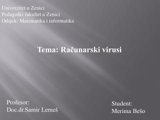 Tema: Računarski virusi