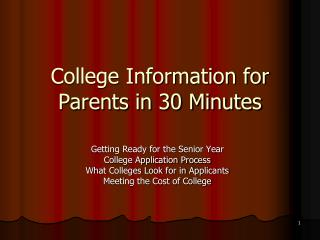 College Information for Parents in 30 Minutes