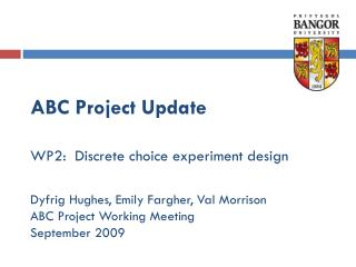 ABC Project Update  WP2:  Discrete choice experiment design  Dyfrig Hughes, Emily Fargher, Val Morrison ABC Project Work