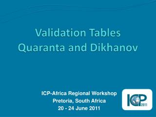 Validation Tables  Quaranta  and  Dikhanov