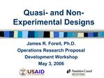 Quasi- and Non-Experimental Designs