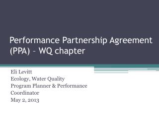 Performance Partnership Agreement (PPA) � WQ chapter