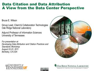 Data Citation and Data Attribution A  View from the Data Center Perspective