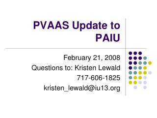 PVAAS Update to PAIU