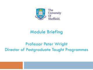 Module Briefing Professor Peter Wright Director of Postgraduate Taught  Programmes