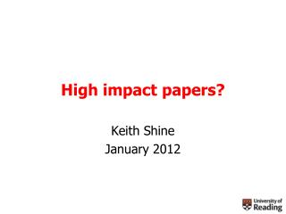 High impact papers?