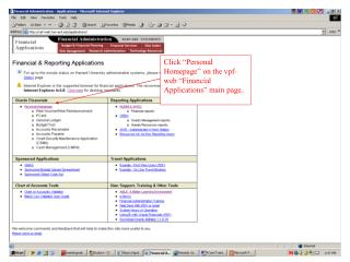 "Click ""Personal Homepage"" on the vpf-web ""Financial Applications"" main page."