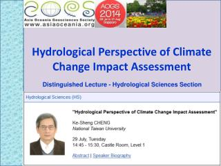 Hydrological Perspective of Climate Change Impact  Assessment