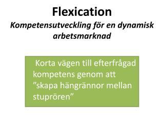 Flexication Kompetensutveckling f�r en dynamisk arbetsmarknad
