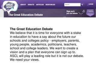 The Great Education Debate