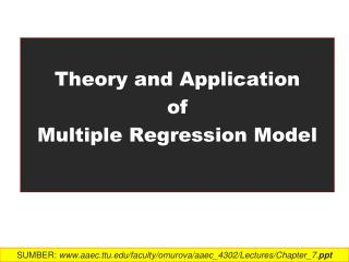 Theory  and Application  of  Multiple  Regression Model