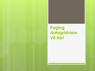 Paging  datagridview VB.Net