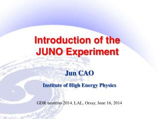 Introduction of the  JUNO Experiment