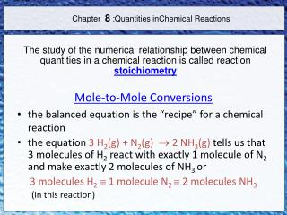 Chapter   8  :Quantities  inChemical Reactions