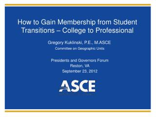How to Gain Membership from Student Transitions – College to Professional