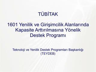 Teknoloji ve Yenilik Destek Programları  Başkanlığı ( TEYDEB )