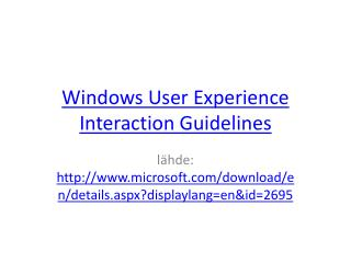 Windows  User Experience Interaction Guidelines