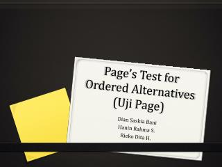 Page's Test for Ordered Alternatives ( Uji  Page)