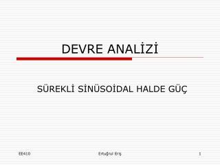 DEVRE ANALİZİ