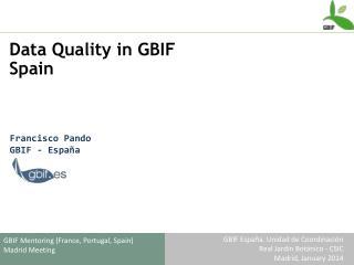 Data  Quality  in GBIF  Spain