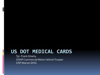 US DOT Medical Cards