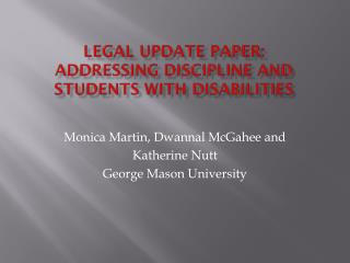 Legal Update Paper: Addressing Discipline and Students with Disabilities